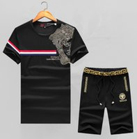 Wholesale sexy tracksuit men - 2018 New Fashion Summer Mens Tracksuit Track Suits Joggers Printed Letter Gym Sport Shirt Sweatsuit Embroidery Casual Outfit Sexy