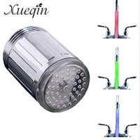 badezimmer dusche beleuchtung großhandel-3 Farbwechsel LED-Licht Wasserhahn Tap Köpfe Temperatursensor RGB Leuchten LED Dusche Stream Badezimmer dusche wasserhahn