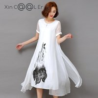 Discount beautiful white casual dresses - beautiful !! High Quality 2018 New Spring Summer Women Work Wear Ink Print Retro Cotton Linen Designs Casual Dresses Slim White