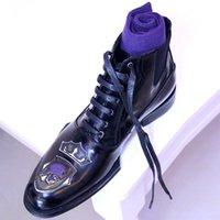 bottes en cuir hommes américains achat en gros de-ch.kwok Gentleman Boots à lacets en cuir Européen et Américain Street Fashion Élastique Haut-top en cuir Broderie Bottes Hommes
