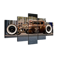 Wholesale hot rods cars - Hot Rod Cars,5 Pieces Canvas Prints Wall Art Oil Painting Home Decor (Unframed Framed)