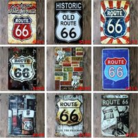 Wholesale oil painting metal art - Gasline Gas Oil Beer Route 66 Vintage Craft Tin Sign Retro Metal Painting Antique Iron Poster Bar Pub Signs Wall Art Sticker