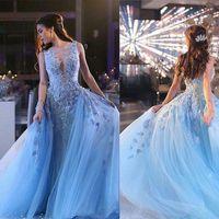 Wholesale Handmade Long Skirts - Sky Blue 2018 3D Floral Frozen Over Skirt Prom Dresses Dubai Arabic Style Luxury Handmade Flower Dresses Party Evening Wear Ziad Nakad