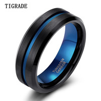 Wholesale tungsten line for sale - Group buy TIGRADE mm Blue Black Men Ring Fashion Blue Line Tungsten Ring Wedding Engagement Tungsten Carbide Rings for Men Jewelry S18101608