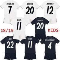 Wholesale teen s - Kids Kit Real madrid soccer Jersey 2018 2019 home away 18 19 RONALDO MODRIC ISCO RAMOS Asensio Children customize teens Football wear