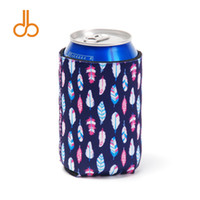 Wholesale tin gift cans online - Feather Printed Cooler Bag Blanks Neoprene Can Cooler Covers Wedding Gift Tin Wraps DOM106551