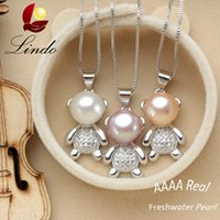 Wholesale Fashion Cute Bear Pendant Necklace Natural Freshwater Pearl Silver Jewelry for Girls with Gift Box