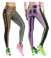 Wholesale dance pipe - S M L woman dance pants Light Up The Dance Floor Ankle Piped Metallic Leggings yoga pants silver purple color