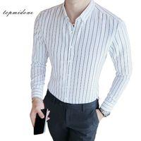 5d320c01ee61 Hombres Camisa de vestir de rayas múltiples de manga larga Camisas formales  de algodón delgados Hombre Negro   Blanco de rayas Oficina Camisa Plus Size  Men ...