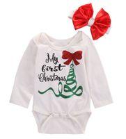 рождественская группа оптовых-Newborn Baby Girl Long Sleeve Romper Jumpsuit My First Christmas Bownot Head Band Outfits Clothes