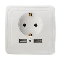ingrosso pannelli a doppia parete-Vendita calda Migliore Porta USB 2A Adattatore per caricabatterie da muro Presa di corrente UE Presa di corrente Pannello con spedizione DHL gratuita