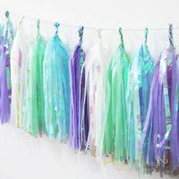 ingrosso ghirlanda arcobaleno-Materiali Nicro Unicorn Mermaid Decorazione per feste Baby Shower Tissue Paper Arcobaleno nappa Diy Hang Garland Bunting Decor partito