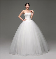 Wholesale Real Photos Elegant Sleeveless Lace Ball Gown Wedding Dresses Women Floor Length Bridal Gown Lace Up Wedding Gowns with Free Petticoat