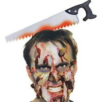 cuchillos de machete al por mayor-Decoración de Halloween Cuchillo de terror Bloody Machete Diadema Suministros de fiesta de Halloween Accesorios 2018 Novedad Juguetes divertidos decoración para niños adultos