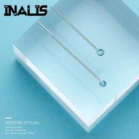 zincir kulak damlaları toptan satış-Inalis yeni zarif uzun kulak hattı s925 gümüş zincir ile tek yuvarlak açık mavi kristal kolye damla küpe kız için