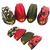 boina roja militar al por mayor-Mujeres Ejército Verde Gorra Barco Marinero Escenario Militar Rendimiento Sombreros Rojo Chino Cinco en punta Estrella Popular Boina 8 9xl hh