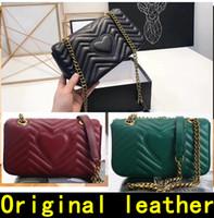 Wholesale designer leather cowhide handbags - Designer Handbags high quality Luxury Handbags Famous Brands women bags Real Original Cowhide Genuine Leather chain Shoulder Bags with BOX