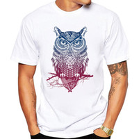 Wholesale s owl - Fashion short sleeve owl printed men tshirt cool funny men's tee shirts tops men T-shirt cotton casual mens t shirts T01