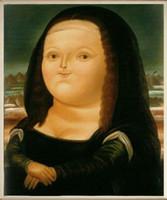 fette öle großhandel-Fernando Botero Fett Mona Lisa Handgemalte HD Druck Ölgemälde Abbildung Wandkunst Auf Leinwand Multi Größen Home Wall Deco Kostenloser Versand