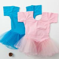 bale giysileri kız toptan satış-Kızlar için jimnastik leotard kısa kollu Çocuk Bale Elbise Profesyonel Tutu Leotard Dans Elbise Giyim çocuk etek