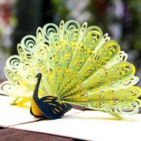 ingrosso origami pop up carta di nozze-New Hollow Peacock Handmade Kirigami Origami 3D Pop UP biglietti di auguri invito matrimonio cartolina compleanno regalo della festa nuziale