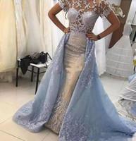 cielo nupcial vestidos de novia al por mayor-2018 Light Sky Blue Lace Mermaid Illusion Corpiños Vestidos de novia Mangas cortas Encaje Apliques Vestidos de novia con faldas Otros vestidos de novia