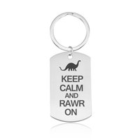 Wholesale fan laser resale online - Dinosaur Keychain Stainless Steel Laser Engraving Key ring Dinosaur Fans Souvenir Gifts Car Key Holder Keep Calm Quotes Keyrings