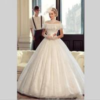Wholesale Beaded Silk Taffeta Ball Gowns - Vestido De Noiva Princesa Luxo Cheap Bridal Dress Vintage Lace Cinderella Wedding Gown Ball Gown China Wedding Dresses 2018