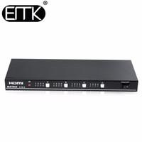 matriz remota venda por atacado-EMK 4x4 Matriz de TV HDMI 4 entrada 4 saída True Matrix Switch Splitter suporte 1920x1080 60Hz com Interruptor de Controle Remoto RS232