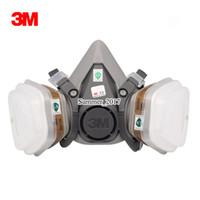 filtre maskeleri yüzü toptan satış-7 IN 1 takım 6200 Solunum Gaz Maskesi Vücut Kimyasal Maskeleri Toz Filtresi Boya Toz Sprey Kimyasal Gaz Maskesi Yarım yüz Maskesi