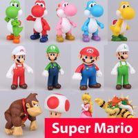 ingrosso bambole yoshi-13 cm Super Mario Figure Giocattoli Super Mario Bros Bowser Luigi Koopa Yoshi Mario Maker Odyssey Action PVC Figure Model Dolls Toy
