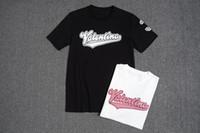 bordado de impressão de camisa venda por atacado-Top quality Verão Algodão T-shirt t Toalha bordado impressão ruas Luxo branco preto 8047