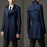 ingrosso uomini di trincea nera-Uomini di marca di lusso britannico Slim doppio petto lungo trench Coat Mens Trench Coat Trench Coat maschio cappotto nero