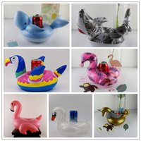 Wholesale toy swimming sharks - 7 Styles Inflatable Flamingos Whale Unicorn Swan Shark Drink Holder Float Cup Holder Swimming Ring Mattress Bath Toys CCA9798 120pcs