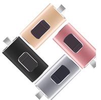 pc disk sürücüleri toptan satış-2018 Yeni 4 GB / 64 GB / 128 GB / 4 1 OTG Çift USB Bellek i Flash Sürücü U Disk için iPhone Android / IOS PC
