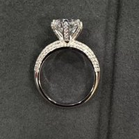 Wholesale ps designs for sale - S925 Pure silver Wedding Ring Classic Design Real Platinum Plated Prongs PT950 material Diamond Promise Rings For Women PS