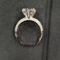 zinkringe großhandel-S925 Reiner silberner Ehering-klassischer Entwurfs-wirkliches Platin überzogene 6 Zinken PT950 Material Diamant-Versprechen-Ringe für Frauen geben Verschiffen frei PS
