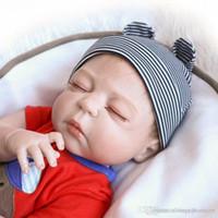 wiedergeborenes baby schläft groihandel-23 Zoll / 57 cm Voller Silikonkörper Wiedergeborene Babys Jungen Schlafende Puppen Mädchen Bad Lebensechte Echte Vinyl Bebe Brinquedos Reborn Bonecas