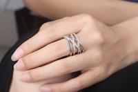 ingrosso anello stile giapponese-Anello in stile femminile Giappone e Corea versione di doppio strato linea hipster diamante anello semplice all'ingrosso