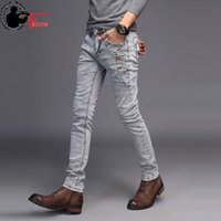 ingrosso moda giovani uomini neri-Jeans Uomo Young 2018 Fashion Trend Stile coreano High Street Streetwear Skinny Slim Fit Bottone in denim Pantalone uomo nero blu