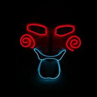 kulüp partisi dansı toptan satış-Hanzi_masks YENI Yanıp Sönen Chainsaw EL Maske Akülü LED Neon Halat Parti Maskesi Noel, Dans, Gece CLub