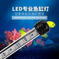 ingrosso l'acquario ha condotto le luci rgb-Acquario Fish Tank LED Light US EU Plug Colore RGB Remote Controling Luci da pesca Bar sommergibile impermeabile Clip Decor
