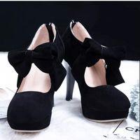 botas médicas venda por atacado-Venda quente Preto Rodada Toe Bowtie Oco Stiletto Heel Botas das Mulheres Nas Botas de Venda das Mulheres Botas Sapatos de Casamento