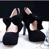 sandalias punta redonda de las mujeres al por mayor-Venta caliente Negro dedo del pie redondo de Bowtie hueco del tacón de aguja botas de las mujeres a la venta Botas zapatos de boda botas de las mujeres