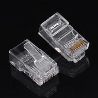 conector de red modular conector rj45 al por mayor-100 Unidad / Paquete Cat5 Cat5e Conector de Internet RJ45 8P8C Cable Modular Plug Heads Envío Gratis