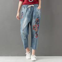 Wholesale Vintage Floral Pants - 2018 Autumn Spring Jeans for women National style Floral print Distrressed Washed Vintage Blue colors size S-3XL