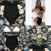 Wholesale sexy two piece swimwear floral online - Woman Swimsuit Lady Swimwear Femme Bikini Sexy Floral Print Brazillian Bathing Two Piece Suit High Waist Printing xc V