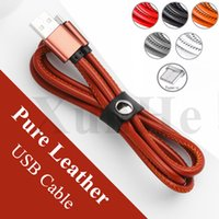 Wholesale orange braided leather - Luxury Retro Leather Cable Micro USB Cable Type C Cable Braided USB Cord for Smart Phone Quick Charge Cord for Samsung LG Huawei