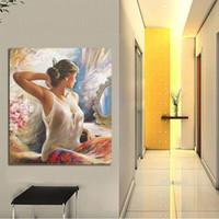 el boyama elbisesi toptan satış-Tuval Üzerine Modern Soyut Saf El-boyalı Yağlıboya Beyaz Ayna Giymiş Kadın Hiçbir Çerçeve Ev Dekor Hediye