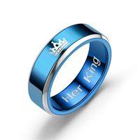 paare blaue edelstahlringe großhandel-2018 Neue Mode DIY Paar Schmuck Ringe Ihr König und Seine Königin Edelstahl Trauringe für Frauen Männer Blau Titan Ring